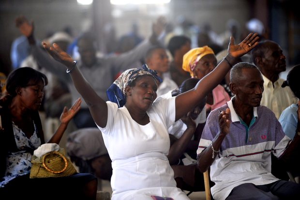 Haitians at Mass in Port-au-Prince on the fourth anniversary of the earthquake.