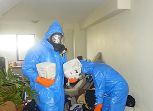 Workers at a contaminated property.