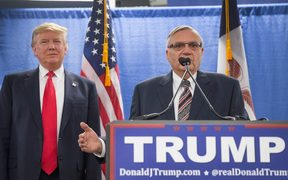 Sheriff Joe Arpaio, right, endorsing Republican presidential candidate Donald Trump in 2016.