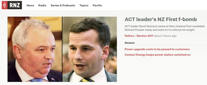 RNZ.co.nz headlines David Seymour's swearing - yet another news-making blurt from a political leader last week.