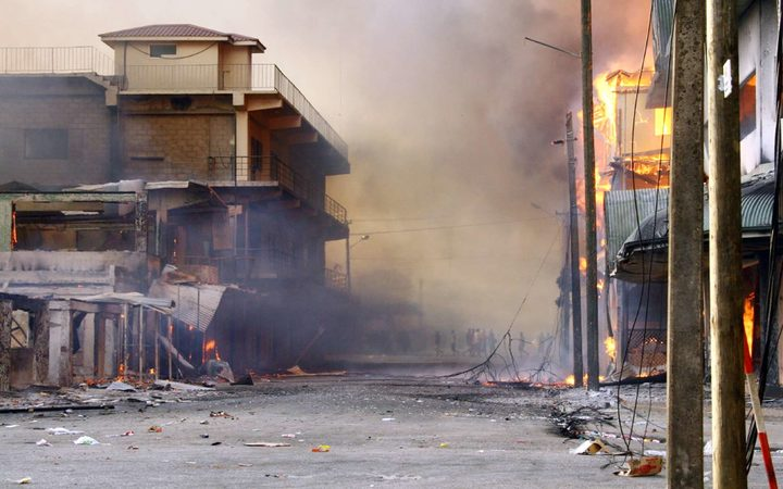 The aftermath of riots in downtown Nuku'alofa in 2006.