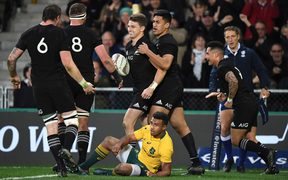 All Blacks celebrate Beauden Barrett's try.