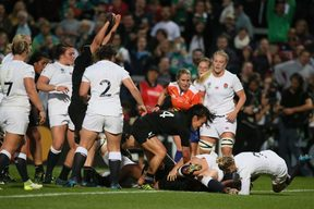 New Zealand's prop Toka Natua scores a try during the Women's Rugby World Cup 2017.
