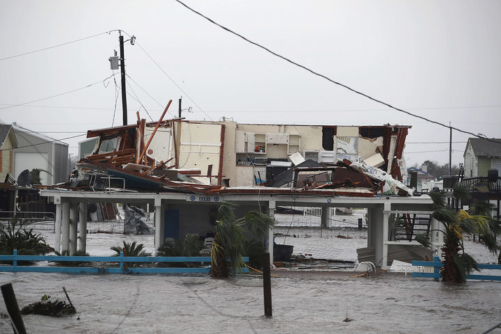 A damaged home in Rockport, Texas after Harvey made landfall.