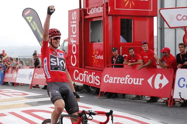 Chris Froome celebrates his stage win in La Vuelta