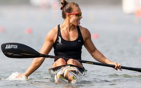 Lisa Carrington crosses the line first in the K1 200m at the world champs in the Czech Republic.
