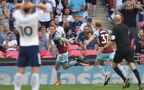 Chris Wood celebrates his first premier league goal for Burnley.
