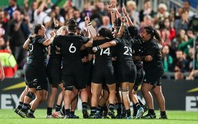 The Black Ferns celebrate their World Cup win over defending champions England on Sunday - the fifth time they've won the title.