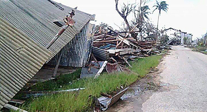 Damage caused by Cyclone Ian to the Ha'apai island of Lifuka last month.