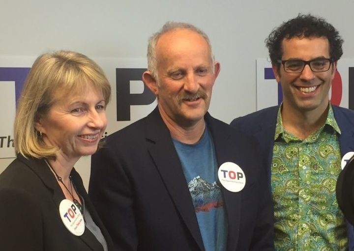 TOP Party deputy co-leader Teresa Moore with Gareth Morgan and Geoff Simmons.