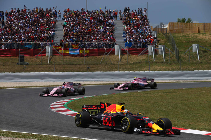 Force India's Sergio Perez and Esteban Ocon chasing  Red Bull's Daniel Ricciardo in the Belgian Grand Prix