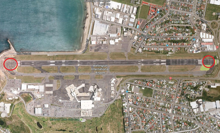 Wellington Airport with the safety areas highlighted.
