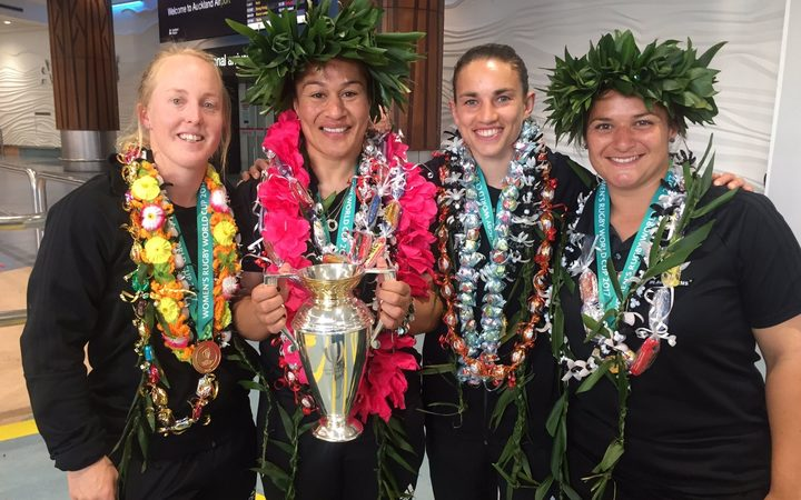 Members of the victorious Black ferns team after their arrival at Auckland Airport.