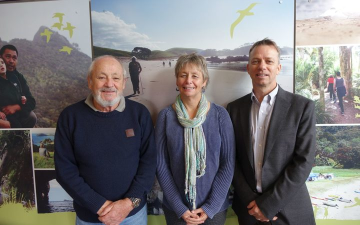 Keith Gordon, Karen Baird and Clive Sharp at the Northland Department of Conservation office. Photo / Lois Williams