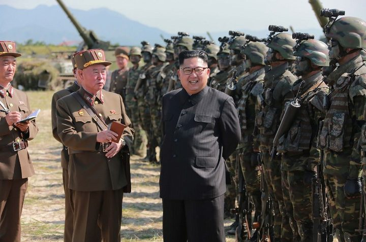This undated photo released by North Korea's official Korean Central News Agency (KCNA) on August 26, 2017 shows North Korean leader Kim Jong-Un presiding over a target strike exercise conducted by the special operation forces of the Korean People's Army (KPA) at an undisclosed location.