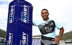 Fijian Drua halfback Serupepeli Vularika at the launch for the Australian National Rugby Championship.