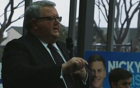Gerry Brownlee at an election Q+A in Christchurch.