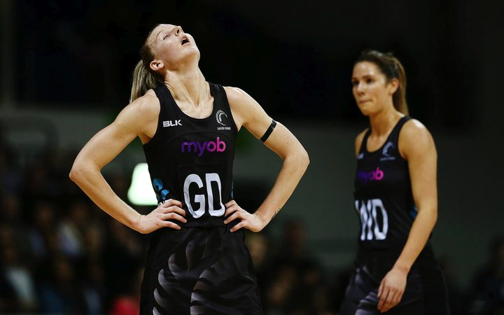 Katrina Grant reacts after the Silver Ferns were beaten by England's Roses tonight.