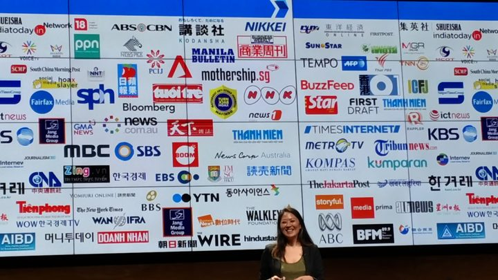 Irene Jay Liu, Google News Lab Asia Pacific in front of logos of media partners. Photo / Mediawatch