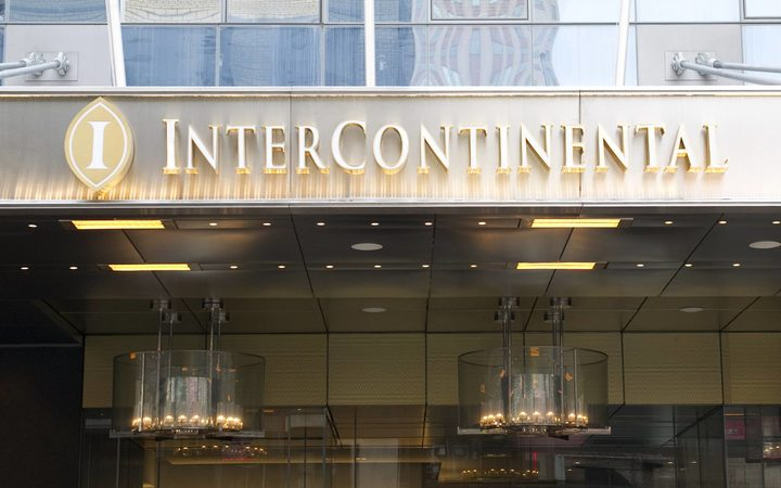 The entrance to the Intercontinental Hotel in New York