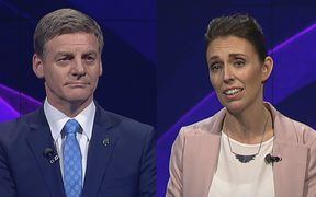 Bill English and Jacinda Ardern during the first leaders debate.