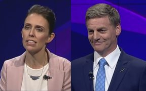 Jacinda Ardern and Bill English during the first leaders debate.