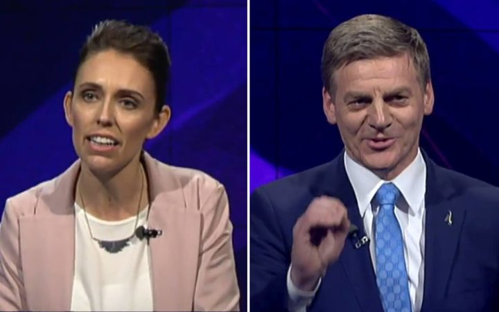 Jacinda Ardern and Bill English at the TV1 debate tonight.
