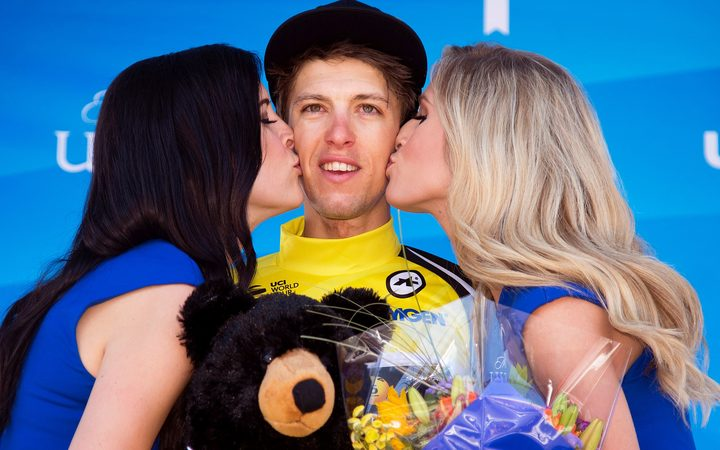 George Bennett on the podium in California.