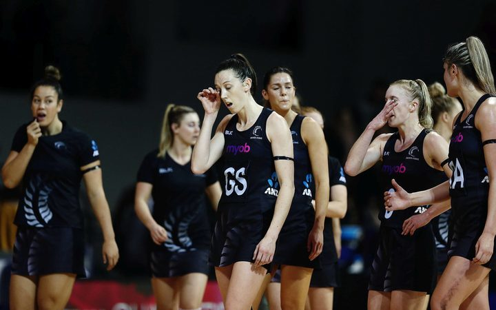 Bailey Mes of New Zealand reacts after defeat at the hands of England's Roses.
