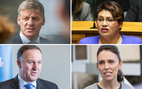 Clockwise from top left: Bill English, Metiria Turei, Jacinda Ardern, John Key