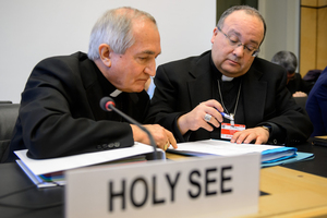 Archbishop Silvano Tomasi (left) and former Vatican chief prosecutor of clerical sexual abuse Charles Scicluna.