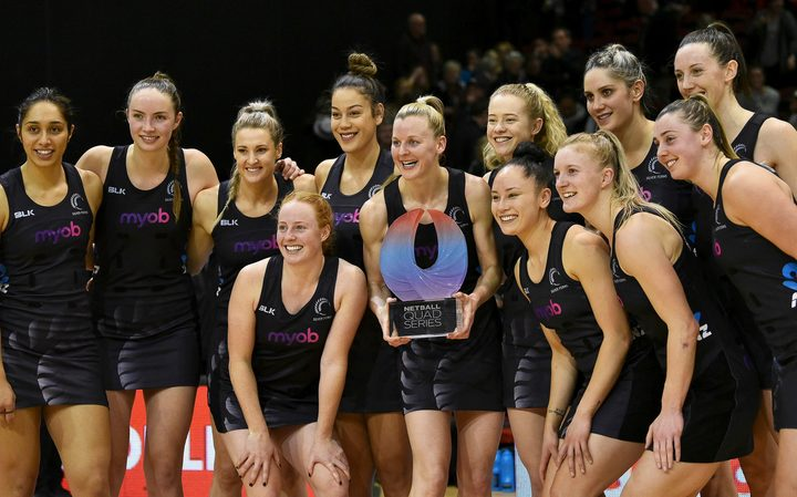 Captain Katrina Grant and team mates with the Quad series trophy.
