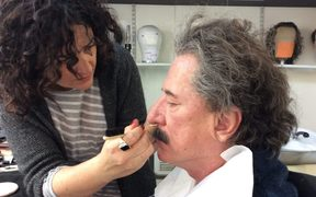 Queenstown-based hair, makeup and prosthetic expert Davina Lamont working with actor Geoffrey Rush.
