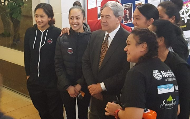Winston Peters with some of the attendees after  the 'Battle for the North' debate in Whangarei.