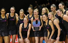 Silver Ferns with the Quad Series trophy after their ten goal win over Australia.