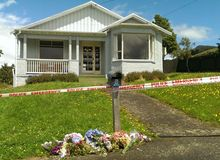 Flowers were left at the Kiwi Street house.