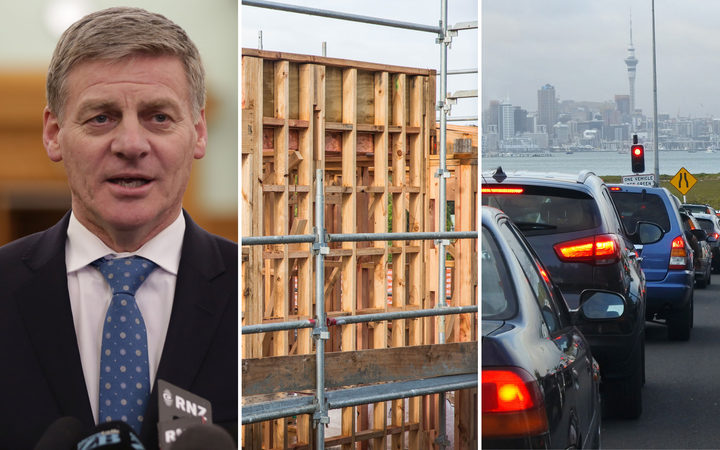 A composite image shows Bill English, a housing development in Hobsonville and congested traffic in Auckland.