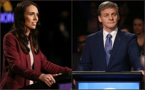 Jacinda Ardern and Bill English during the second leaders debate.