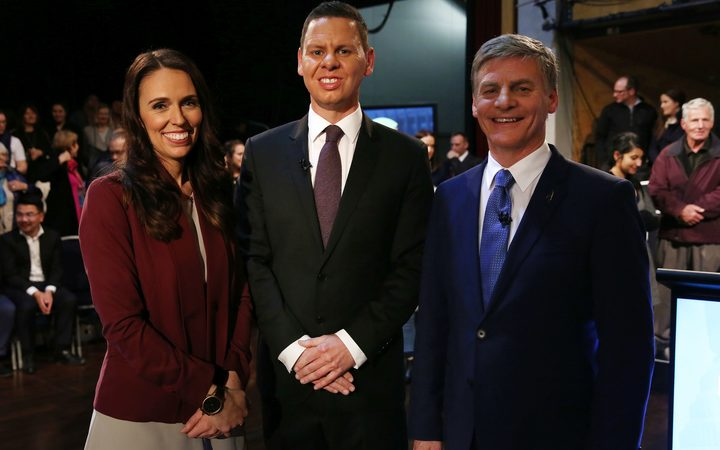 Jacinda Ardern, moderator Patrick Gower and Bill English after the second leaders debate.