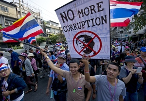 A rally in Bangkok a day after a bomb attack that killed one and left dozens injured.