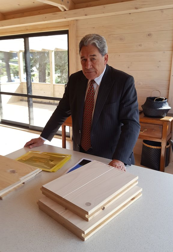 Winston Peters at the Mt Pokaka Timber Mill during his 2017 election campaign.