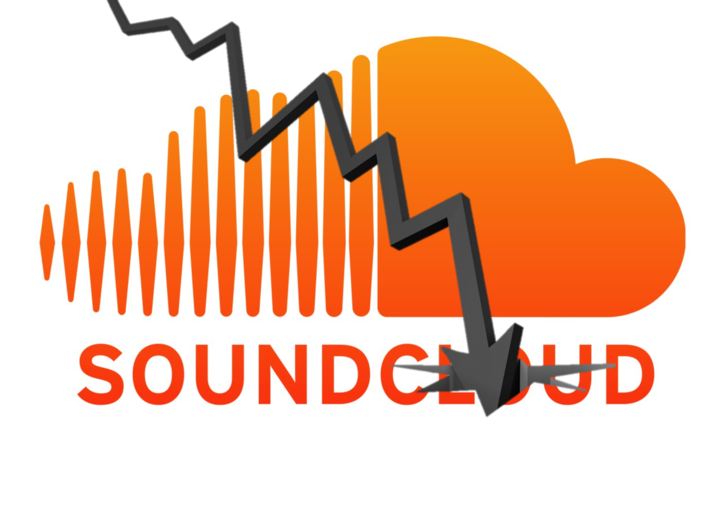 Soundcloud logo with down arrow
