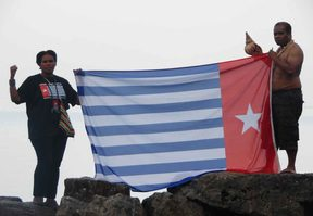 Members of the Free West Papua Campaign at Lake Geneva.