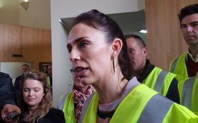 Labour Party leader Jacinda Ardern at Red Stag Timber in Rororua.