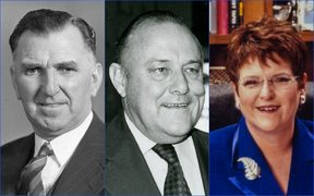 Former National PMs Syd Holland, Robert Muldoon and Jenny Shipley.
