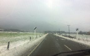 The road into the Lewis Pass this afternoon.