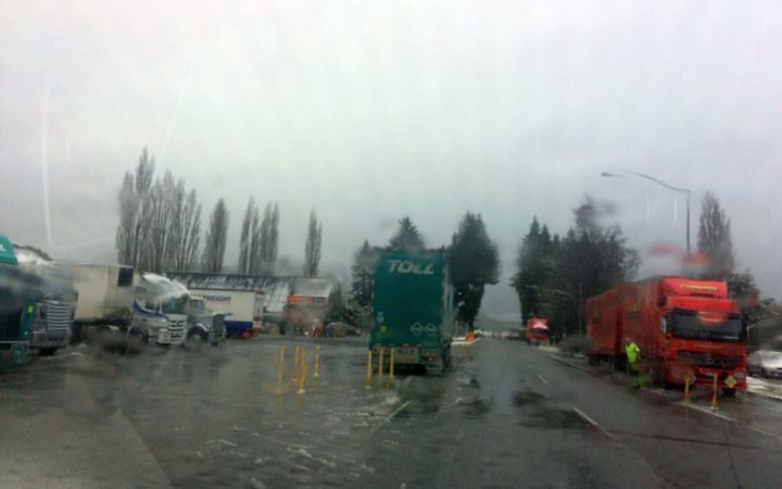 Trucks have been left stranded after the pass closed today.