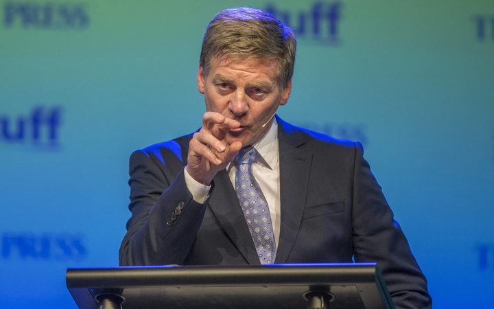 Bill English makes a point in the Stuff debate.