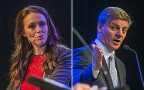 Jacinda Ardern and Bill English during the Stuff Leaders Debate in Christchurch on 8 September 2017
