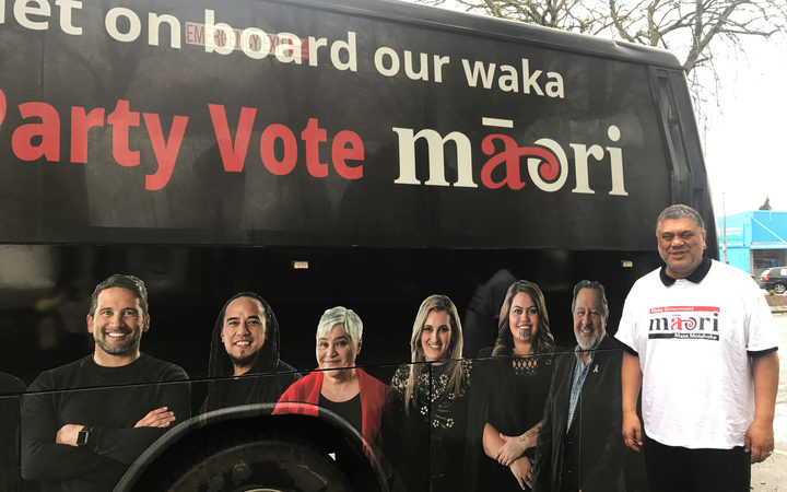 Rahui Papa witht the Māori Party campaign bus.  (2017)